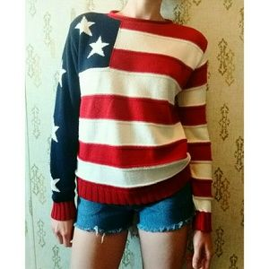 90's American Flag Sweater